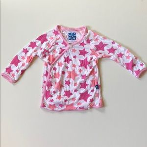 Kickee Pants | Pink Star Wrap Top | 0-3 Months